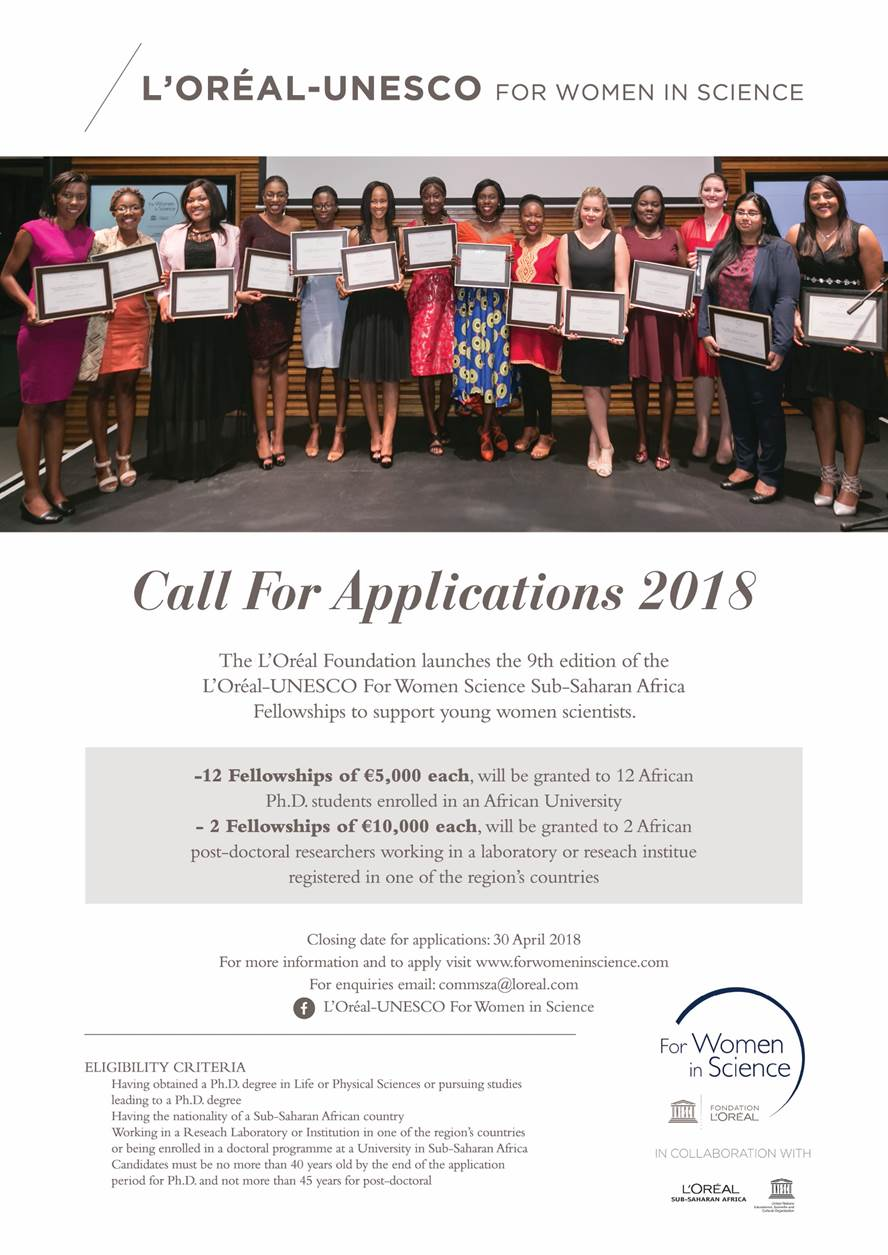 Call for applications 2018: L'Oréal-UNESCO for Women in Science sub-Saharan Africa regional programme