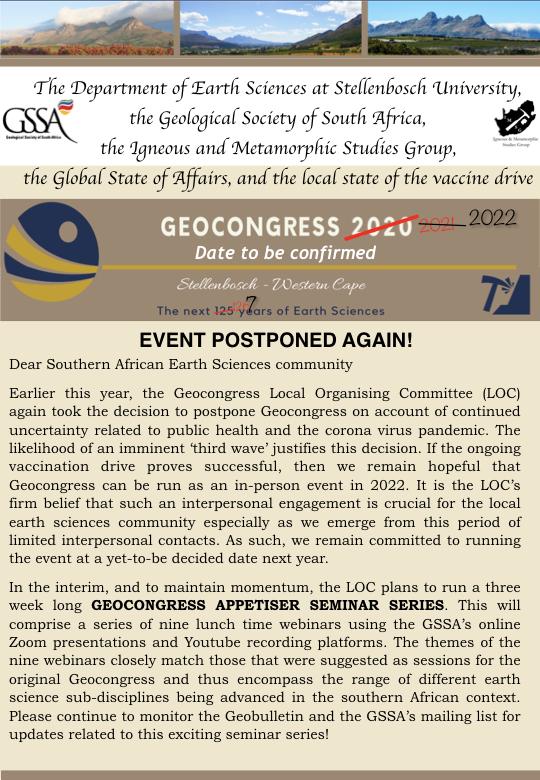 Geocongress Postponement